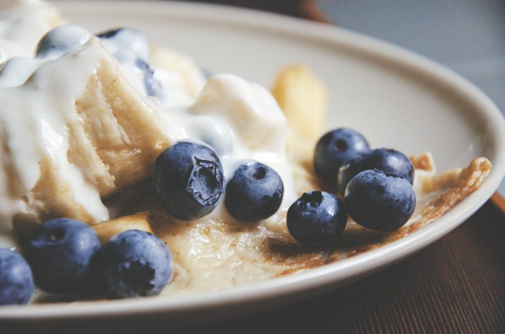 blueberries, pancake, breakfast
